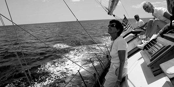 Charging sailboat