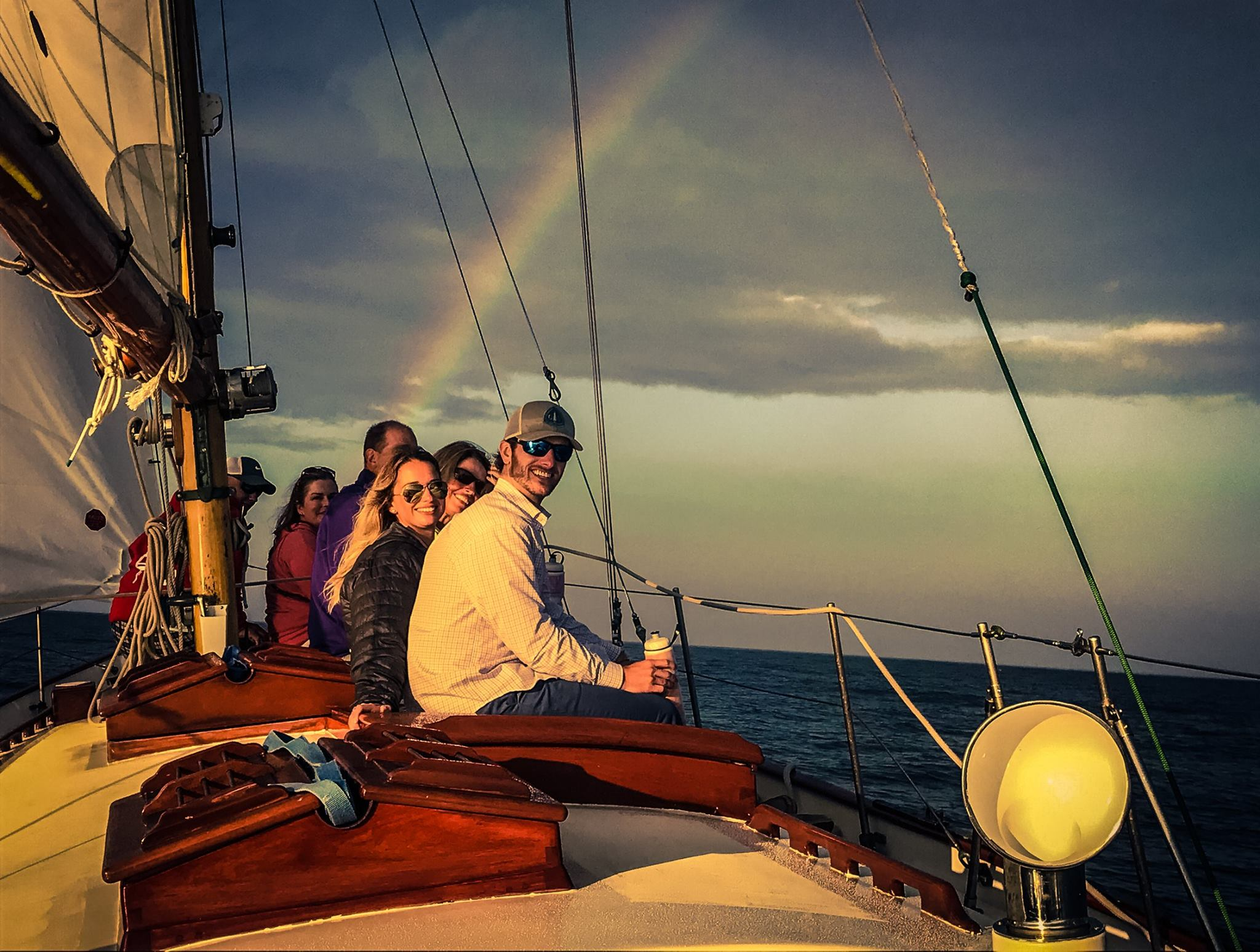 sunset sail friends rainbow